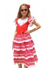 Spanish Flamenco Dress white/red