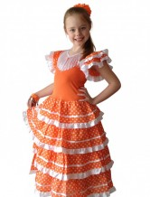 Spanish Flamenco Dress orange/white