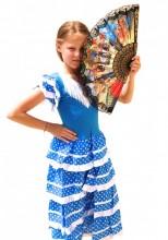 Spanish Flamenco Dress blue white
