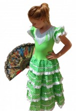 Flamenco Dress lime green white