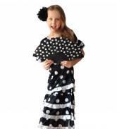 Spanish Flamenco Dress DeLuxe black white