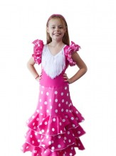 Spanish Flamenco Dress Superior pink white