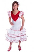 Spanish Flamenco Dress Superior white red