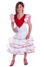 Spanish Flamenco Dress Superior white red