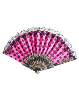 Fan pink black with lace