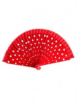 Flamenco Fan red white wood
