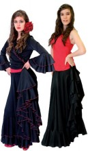 Flamenco skirt ladies black with red strap