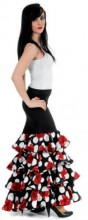 Flamenco skirt with polkadots and roses