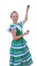 Spanish Flamenco Dress green white