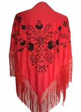 Spanish Flamenco Shawl red black