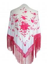 Flamenco Shawl white pink