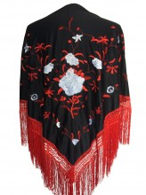 Flamenco Shawl black red white rose