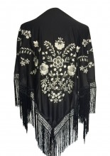 Flamenco Shawl black white