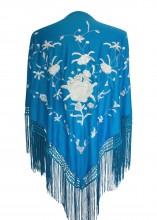 Spanish Flamenco Shawl blue white