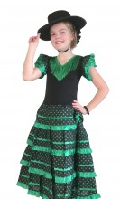 Spanish Flamenco Dress black green