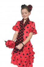Spanish Flamenco Dress DeLuxe red black NEW