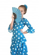 Spanish Flamenco Dress DeLuxe blue/white