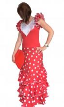 Ladies Flamenco dress Superior red white