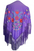 Flamenco Shawl purple with flowers