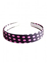 Headband black with pink dots
