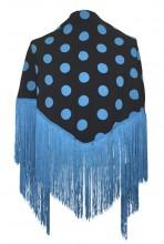 Flamenco Shawl Black Blue dots