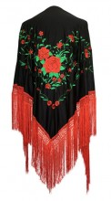 Flamenco Shawl Black Red Green Large