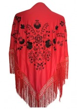 Flamenco Shawl Red Black Large