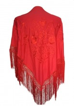 Flamenco Shawl Red with Red flower Large