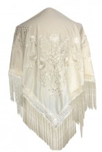 Flamenco Shawl off white with white flower Large