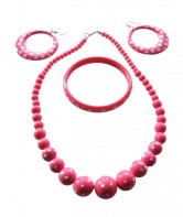 Spanish set Earrings Necklace Bracelet Pink White