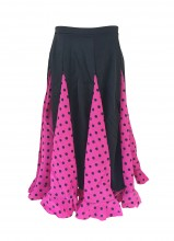 Spanish Flamenco Dance Skirt Girls Pink Black dots
