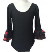 Spanish Flamenco Leotard black with dots girls