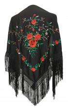 Flamenco Shawl black red roses