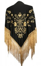 Flamenco Shawl black gold golden fringes