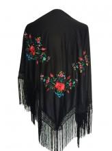 Flamenco Shawl black triangular flowers