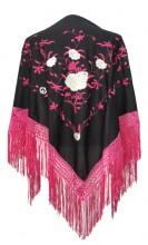Flamenco Shawl black pink white roses