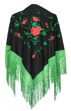 Flamenco Shawl black green red roses