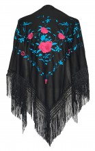 Flamenco Shawl black blue pink