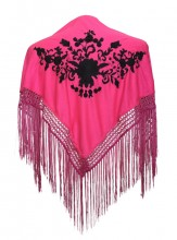 Flamenco Shawl pink black small