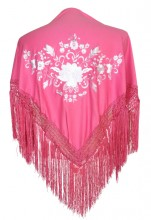 Flamenco Shawl pink white small