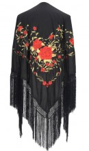 Flamenco Shawl Black Red Gold Large