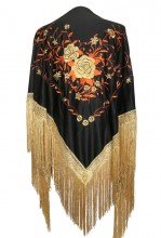 Flamenco Shawl Black Orange Gold Large