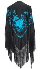 Flamenco Shawl black blue Large
