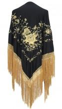 Flamenco Shawl black gold with golden fringes Large