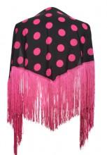 Flamenco Shawl black pink dots