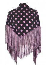 Flamenco Shawl black light pink dots