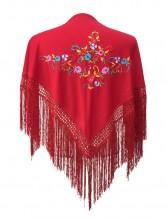 Flamenco Shawl dark red flowers Small