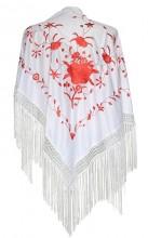 Flamenco Shawl white red
