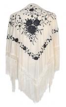 Flamenco Shawl off white black