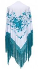 Flamenco Shawl white blue Large